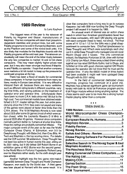 Computer Chess Reports Front Page 1989 1st Quarter 40 x 40