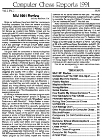 Computer Chess Reports Front Page 1991 2nd Quarter 45 x 45