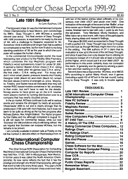 Computer Chess Reports Front Page 1991 3rd Quarter 40 x 40