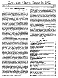 Computer Chess Reports Front Page 1992 1st Half 45 x 45