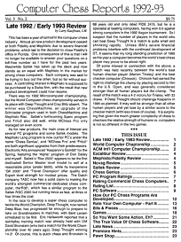 Computer Chess Reports Front Page 1992 2nd Half 45 x 45
