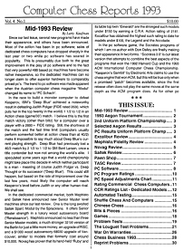 Computer Chess Reports Front Page 1993 1st Half 45 x 45